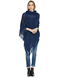 Cayman Blue Acrylic Woollen Knitted Poncho Sweater