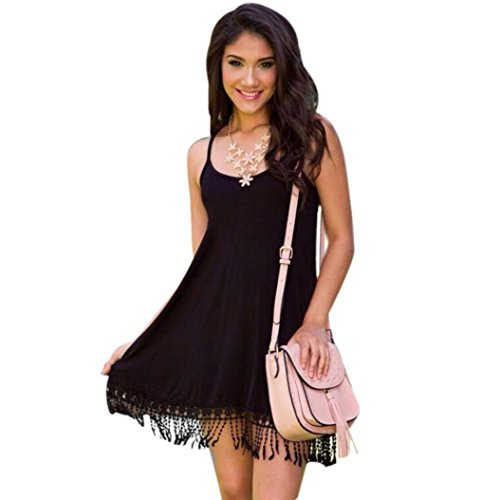 vestidos de las mujeres, FEITONG Las mujeres sin mangas ocasional de Bohemia del vestido de la borla de la playa (S, Negro)
