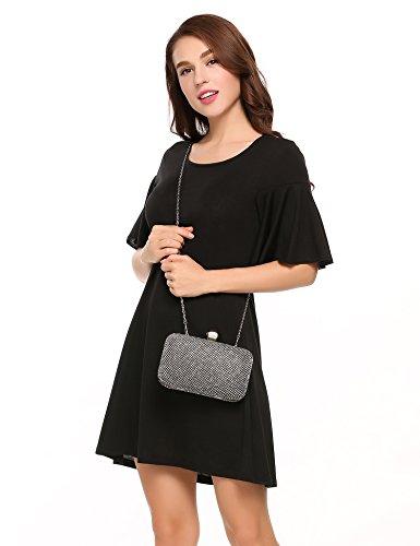 Meaneor Damen Kleid Elegant Sommerkleid Cocktailkleid Minikleid mit Trompetenärmeln Casual Party Schwarz