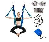 Aerial Hamaca de Yoga,Yoga Swing para Yoga antigravedad, Ejercicios de inversión, Flexibilidad Mejorada y Resistencia del núcleo - Accesorios de Montaje incluidos (Costura azul cielo)