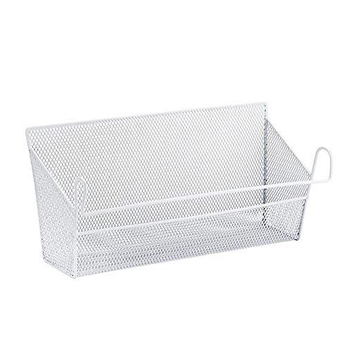 LY/WEY Student Dormitory Bed Metal Hanging Storage Basket Desktop Skin Care Cosmetics Sundries Storage,White
