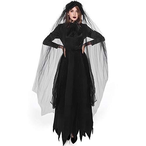 Geist Göttin Kostüm - Halloween Rollenspiele Toten Weiblichen Geist Hexe Kostüm Vampir Braut Tod Göttin Halloween Kostüm, Farbe, M