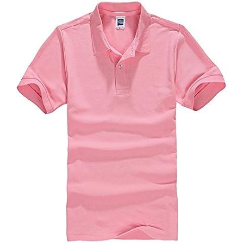 Color Sólido del Polo de Manga Corta Camisa para Hombre y Mujer Rosa Claro 3XL
