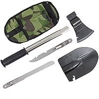 Anzer militaire Pelle pliante multifonction Pelle armée Camping Pelle Camping Portable outils Set, 4en 1multifonction d'urgence de camping de survie outils kit