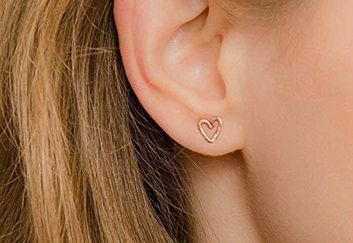 Rose Gold Herz Ohrringe kleine Ohrstecker Valentinstag Freundin Geschenk