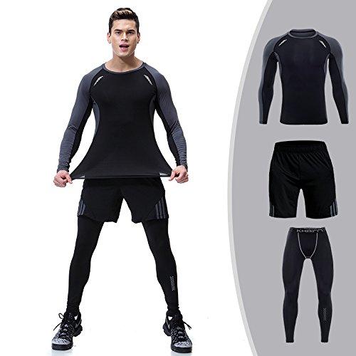 98245cccf5f91a kami-jia Mens Compression Collants Base Couche Noir Cours d'entraînement de  Gymnastique Pantalons