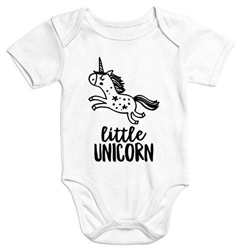 Einhorn Baby-Body mit Little Unicorn Aufdruck Bio-Baumwolle kurzarm Moonworks® weiß 3-6 Monate