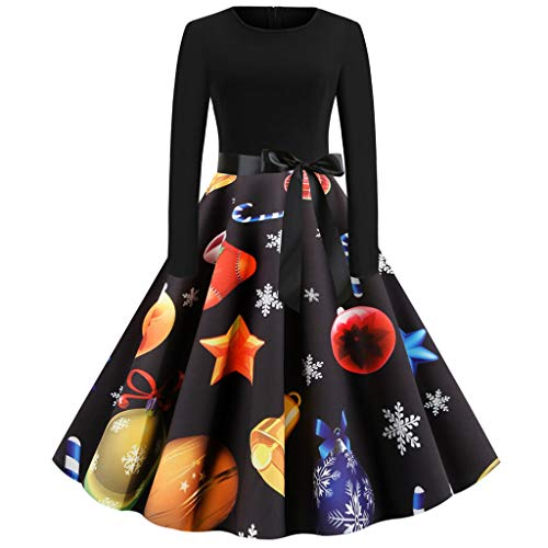 Women Long Sleeve Christmas Housewife Evening Party Prom Dress Robe de Hepburn, Femme Fille Robe de Soirée Cocktail Rétro Robe Vintage Rockabilly Classique Swing Robe Mini Robe Elegant