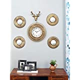 @home by Nilkamal Stag Combo Wall Clock Set of 6, Gold