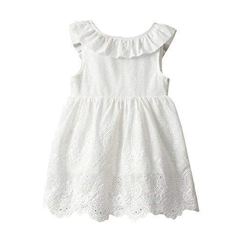 (Babykleidung,Honestyi Kleinkind Kinder Baby Mädchen Prinzessin Party Kleidung großen Bogen ärmellosen Tutu Kleider (2,Weiß))