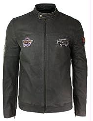Veste cintrée pour homme en cuir vielli avec insignes couleur marron style vintage course motard