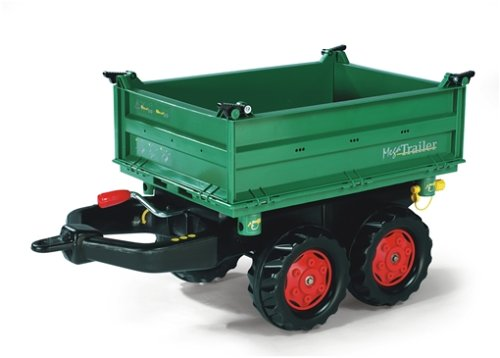 Fendt Trettraktor Rolly Toys 122202 rollyMega Trailer | Kippanhänger mit Kurbel | 2-Achsanhänger in 3 Richtungen kippbar | Anhänger für rolly toys Traktoren | ab 3 Jahren | Farbe grün