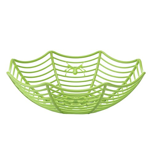 BESTONZON Spooky Mignon Kunststoff Spinnweben Schüssel Halloween Party Decor Zubehör Spinne Web Gemüse Obst Candy Korb (grün)
