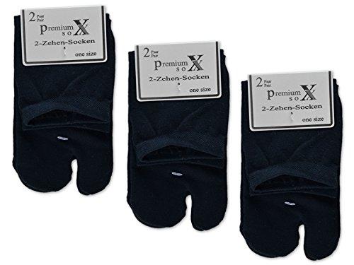 6 oder 12 Paar Zwei Zehensocken für Flip Flops Tabi Socken Damensocken - sockenkauf24 (35-42 / 6 Paar, Schwarz)