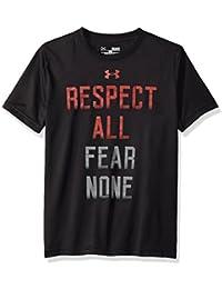 Under Armour Respected by All - Camiseta de manga corta para Niño, color Negro, talla Niño XL
