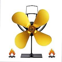 ZPL Ventilador autoestable de 4 Cuchillas, Registro silencioso/Estufa de leña/Ventilador de