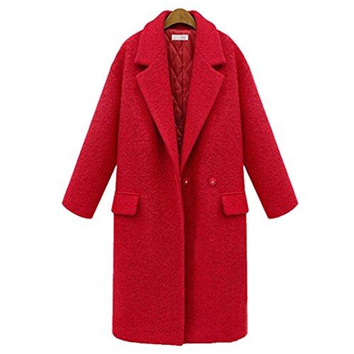 YuanDian Damen Anzug Kragen Feste Farbe Plus Baumwolle Verdicken Große Größen Lang mit Seitentaschen Mantel Jacke Rot 2XL