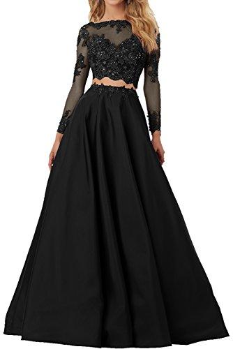 Milano Bride Elegant Schwarz Damen Lang Abendkleider Ballkleider mit Spitze Abschlussballkleider...