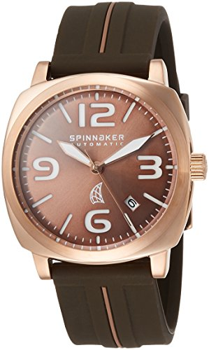 Spinnaker Hull Men's Automatic Watch with Brown Dial Display on Brown Silicon Strap SP-5020-05