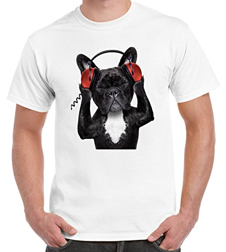 Tribal T-Shirts francés Bulldog DJ-Camiseta para Hombre