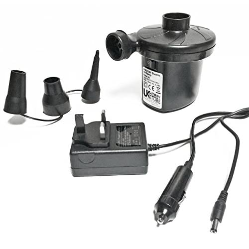 41WYFi fUcL. SS500  - UKHobbyStore Car And Mains Dual Powered Electric Air Pump (12v And 240v) With Universal Valves. Inflates And Deflates.