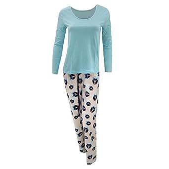 damen pyjama schlafanzug langarm oberteil fleece hose mit eulen aufdruck 38 40 de. Black Bedroom Furniture Sets. Home Design Ideas