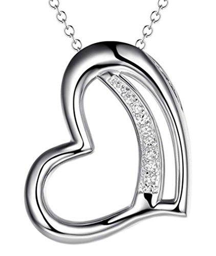SaySure - Jewelry heart pendant necklace with CZ diamond classic
