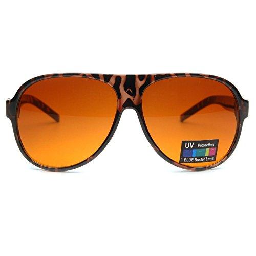 Kiss Sonnenbrille BLUE BLOCKER stil Aviatore mod. BLOW - gelben Gläsern vs. Licht Blau herren damen VINTAGE - HAVANNA V1