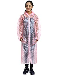 REXBURG Stylish Monsoon Long Women's Rain Coat, Absolute Comfortable and Made with 100% Water Proof Material. (Pink- XL)- Chest - 48, L-52.