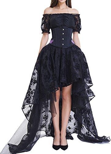 Korsagenkleid Gothic Taille Korset Lang Rock Hauch Bluse Mini Kleid Korsett kurz Partykleid Steampunk-Kostüm inkl. Rock und Korsett Top (2XL (EU40-42), 1703 schwarz) (Gute Damen Halloween Kostüme)