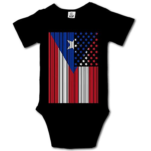 Babybekleidung Jungen Mädchen T-Shirts, Bar Coded USA Puerto Rico Flag Newborn Baby Girl Clothes Short Sleeve Infant Bodysuit Onesie -