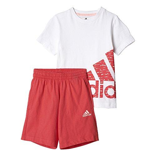 adidas LK Logo Sum Set Set T-Shirt mit Shorts, Kinder, Kinder, Lk Logo Sum Set, Weiß (Weiß/Corneb)