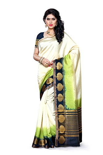 Mimosa Women's Traditional Art Silk Saree Tassar Silk With Blouse Color:Multi(3304-3032-3D-HWT )  available at amazon for Rs.999