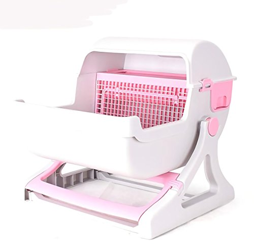 Haol Katzentoilette WC-Box - Halbautomatische Katzentoilette - Schnelle Reinigung Katzentoilette,Pink
