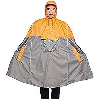 Icegrey Adult Rain Poncho Unisex Emergency Rainwear With Matching Pouch Long Reflective Stripe Orange 3XL