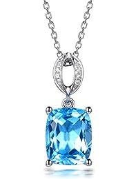 3104141bfdd9 LCHNSXL Collar Cristal Azul Claro Colgante De Piedra Grande Collar De Cadena  Larga De Plata para