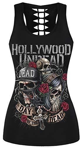 Hollywood Plus Kostüm - Ocean Plus Damen Schädel Sport Tops Gothic Tank Top Ärmellos Workout Weste Criss Cross Hemd Halloween Schnelltrocknendes Laufshirt (S/M (Brustumfang: 68-88 cm), Hollywood Schädel)
