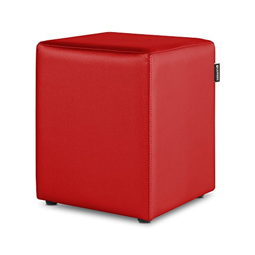 HAPPERS Puff Cubo Polipiel Indoor Rojo
