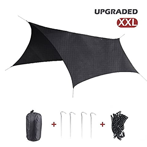 Triwonder Hexagonal Outdoor Waterproof Sunshade Camping Shelter Tent Tarp Footprint Groundsheet Beach Picnic Blanket Mat Rain Fly for Hammock (Black+Accessories (Upgrade) - XXL)