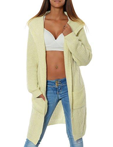 Damen Cardigan Strickjacke Mantel Langarm Pullover (weitere Farben) 15729, Farbe:Weiß, Größe:One...