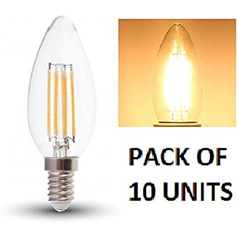 V-TAC LED filament vela bombillas–PACK DE 10bulbs- blanco cálido 2700K, E14/SES/rosca Edison pequeña–4W/400Lumens/vidrio acabado Look clásico incandescente/20.000horas de vida media/No regulable/230V–300Degree ángulo de haz/SKU: