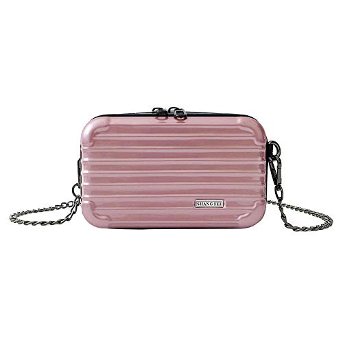 Fyyzg Box Tasche weibliche Mini Persönlichkeit schicke Kette Schulter umwickelt kreative Box Tasche - pink