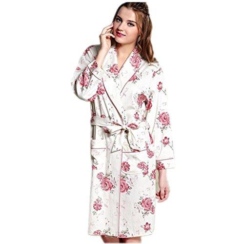 LIUDOU Primavera autunno in maglia di cotone manica lunga camicia da notte cintura accappatoio accappatoi donna , 2 , xxl