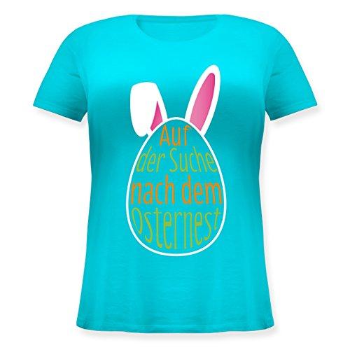 Ostern - Auf der Suche nach dem Osternest - Lockeres Damen-Shirt in großen Größen mit Rundhalsausschnitt Türkis