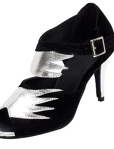 La mode moderne Argent/Or Sandales femme Chaussures de danse salsa/latin/similicuir Sandales flocage/talons Talon personnalisés Professional US8.5/EU39/UK6.5/CN40