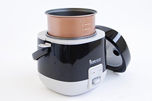 Olla Eléctrica Auto-Programable 1.2L con Tecnología Inteligente One-Touch & Termo Sensor de Cocción. #La Ollita. Cocina en cualquier lugar y mantiene caliente los alimentos. Incluye cucharón y vaso medidor (Negro)