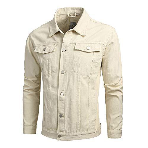 KPILP Herrenmode Herbst Winter Taste Einfarbig Vintage Jeansjacke Tops Bluse Mantel Outwear Langarm-Shirt(X2-beige,L) - Tweed Wolle Strickjacke