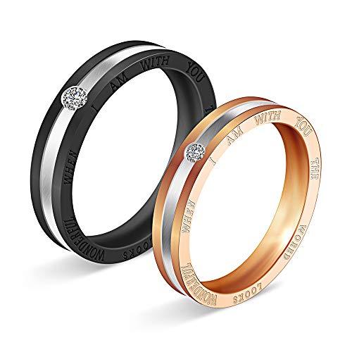 AZUO Wild Fashion Diamond Black Gold Titan Steel Ring Ring Paar Gelenk-Zeigefinger Ring,A