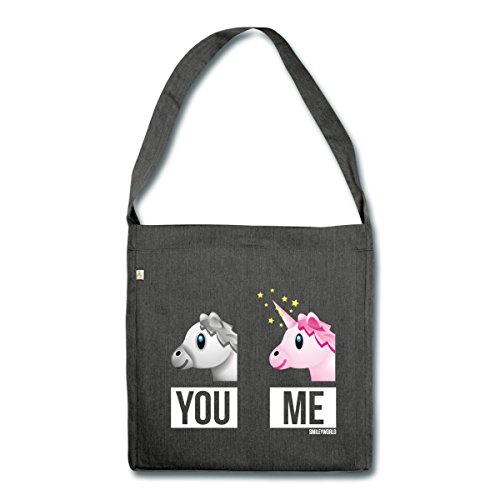 Spreadshirt SmileyWorld You Vs Me Pferd Gegen Einhorn Schultertasche aus Recycling-Material, Schwarz meliert