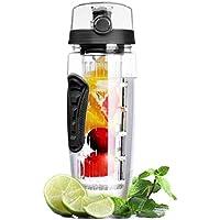 OMORC Bottiglia Acqua Detox 1 Litro con Infusore di Frutta, Borraccia Detox di Tritan, senza BPA, a Prova di Perdite, con Spazzolino di Pulizia, Portatile per Sport, Casa - Nero